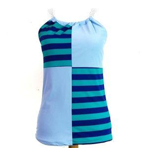 NWT Lime Ricki Cross Back Blue Swim Top XXL